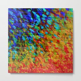 COLLISION COURSE - Bold Rainbow Splash Bricks Urban Jungle Ocean Waves Nature City Acrylic Painting Metal Print
