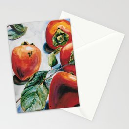 Watercolor Persimmons With Leaves Stationery Cards