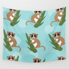 pattern - lemur on green branch on blue background Wall Tapestry