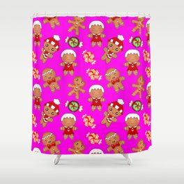 Cute decorative hygge pattern. Happy gingerbread men cookies and sweet xmas caramel toffee Shower Curtain