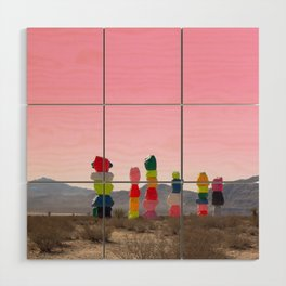 Seven Magic Mountains with Pink Sky - Las Vegas Wood Wall Art