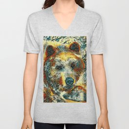 AnimalArt_Bear_20170604_by_JAMColorsSpecial Unisex V-Neck