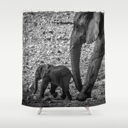 B&W Elephant Love 6 Shower Curtain