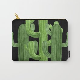 Desert Vacay Three Cacti on Black Carry-All Pouch