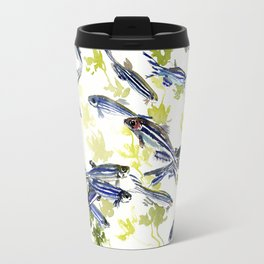 Fish Blue Gray zebrafish, Danio aquarium Aquatic design underwater scene Travel Mug