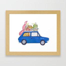 Blue Vintage car Framed Art Print