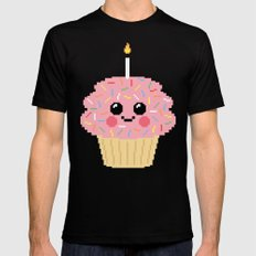 Happy Pixel Cupcake MEDIUM Mens Fitted Tee Black