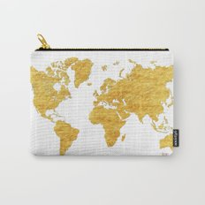 World Map Gold Vintage Carry-All Pouch