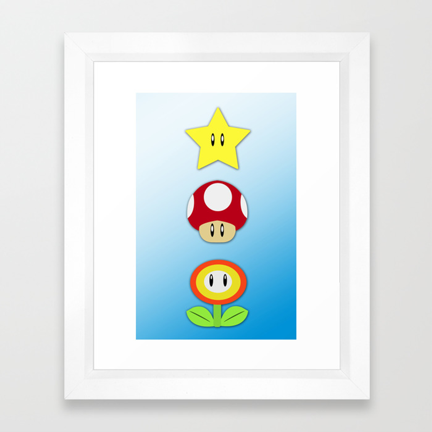 Super Mario Bros Star Mushroom And Flower Framed Art Print By
