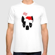 Santa Boston Terrier White Mens Fitted Tee SMALL
