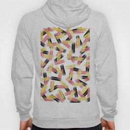 Elegant Pink, Black, and Gold Brushstroke Pattern Hoody
