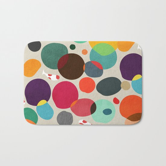 Lotus in koi pond Bath Mat