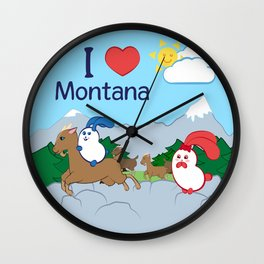 Ernest and Coraline | I love Montana Wall Clock