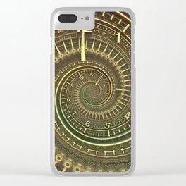 Bronze Metallic Ornate Spiral Time Machine Clear iPhone Case