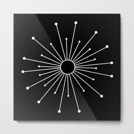 Mid Century Modern Simple Sputnik Starburst Black/White Metal Print