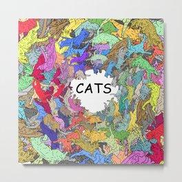 Colorful Rainbow Cats Metal Print