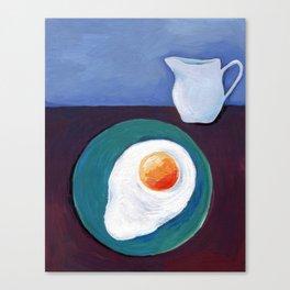 Scrambled eggs and jug. Canvas Print