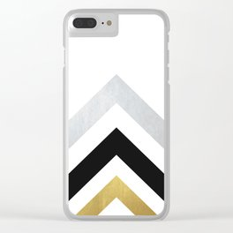 Minimalist Geometric - Black & Gold Clear iPhone Case