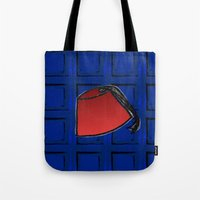 fez Tote Bags featuring Fez on Blue by Bohemian Bear by Kristi Duggins