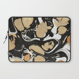 Black and Gold paint marble Laptop Sleeve