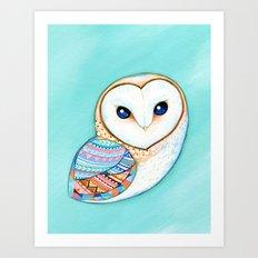 Tribal Pattern Barn Owl Art Print
