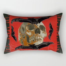 GRUNGY HALLOWEEN BAT INFESTED HAUNTED SKULL Rectangular Pillow