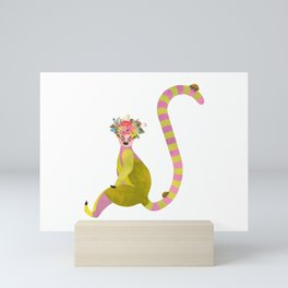 Lemurs with a crown of flowers and ladybugs Mini Art Print