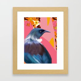 Tui with Retro floral wallpaper Framed Art Print