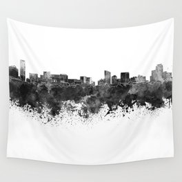 Grand Rapids skyline in black watercolor Wall Tapestry