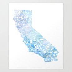 Typographic California - Blue Watercolor Art Print