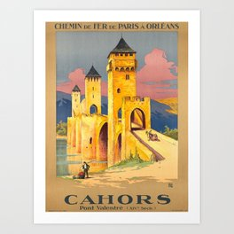 Advertisement cahors pont valentre chemin de fer Art Print