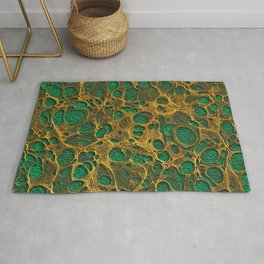 Dark Spring Green Gold Marble Rug