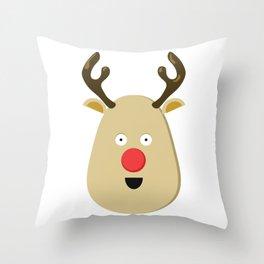 Christmas Reindeer Face Throw Pillow