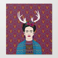 frida Canvas Prints featuring DEER FRIDA by Bianca Green
