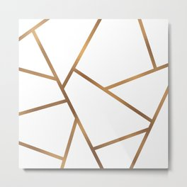 White and Gold Fragments - Geometric Design Metal Print