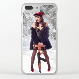 """Sovietsky on Ice"" - The Playful Pinup - Russian Theme Pin-up Girl in Snow by Maxwell H. Johnson Clear iPhone Case"