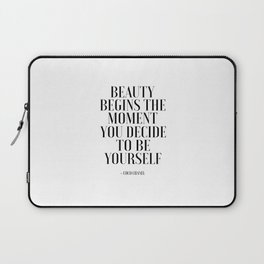 Girls Quote Beauty Begins Fashion Wall Art FASHIONISTA Poster Home Decor Quote Laptop Sleeve