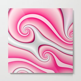 Interlinked Waves 2 (candy cane pink) Metal Print