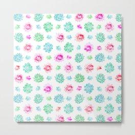 Blush pink teal modern trendy summer cactus floral Metal Print