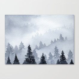 Misty Forest Watercolor Canvas Print