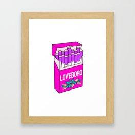 Loveboro cigarette packs pattern / girly stickers / pink grid Framed Art Print