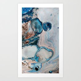 Blue Abstract Acrylic Painting - Fluid Technique  - Close-Up Art Print