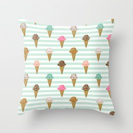 ice cream cones flavors mint stripes food fight apparel and gifts Throw Pillow