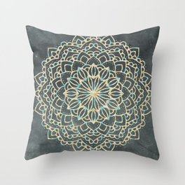 Sea Shimmer Mandala - Gold + Turquoise Throw Pillow
