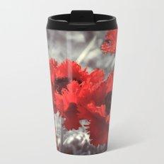 Big Red Watercolor Poppies on Grey Background Metal Travel Mug