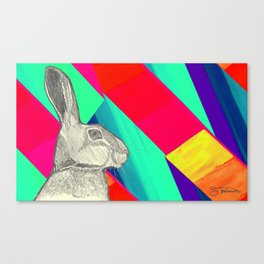 stand up straight   neon red (rabbit & hare series) Canvas Print