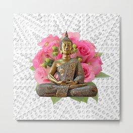 Buddha Rose Silver Mandala Metal Print