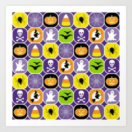 Halloween Pattern - Ghosts, Skulls, Flying Witches, Bats, Spiders, Pumpkins, Candy Corn Art Print