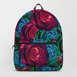 closeup blooming roses in red blue and green Backpack
