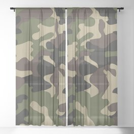 Military camouflage Sheer Curtain